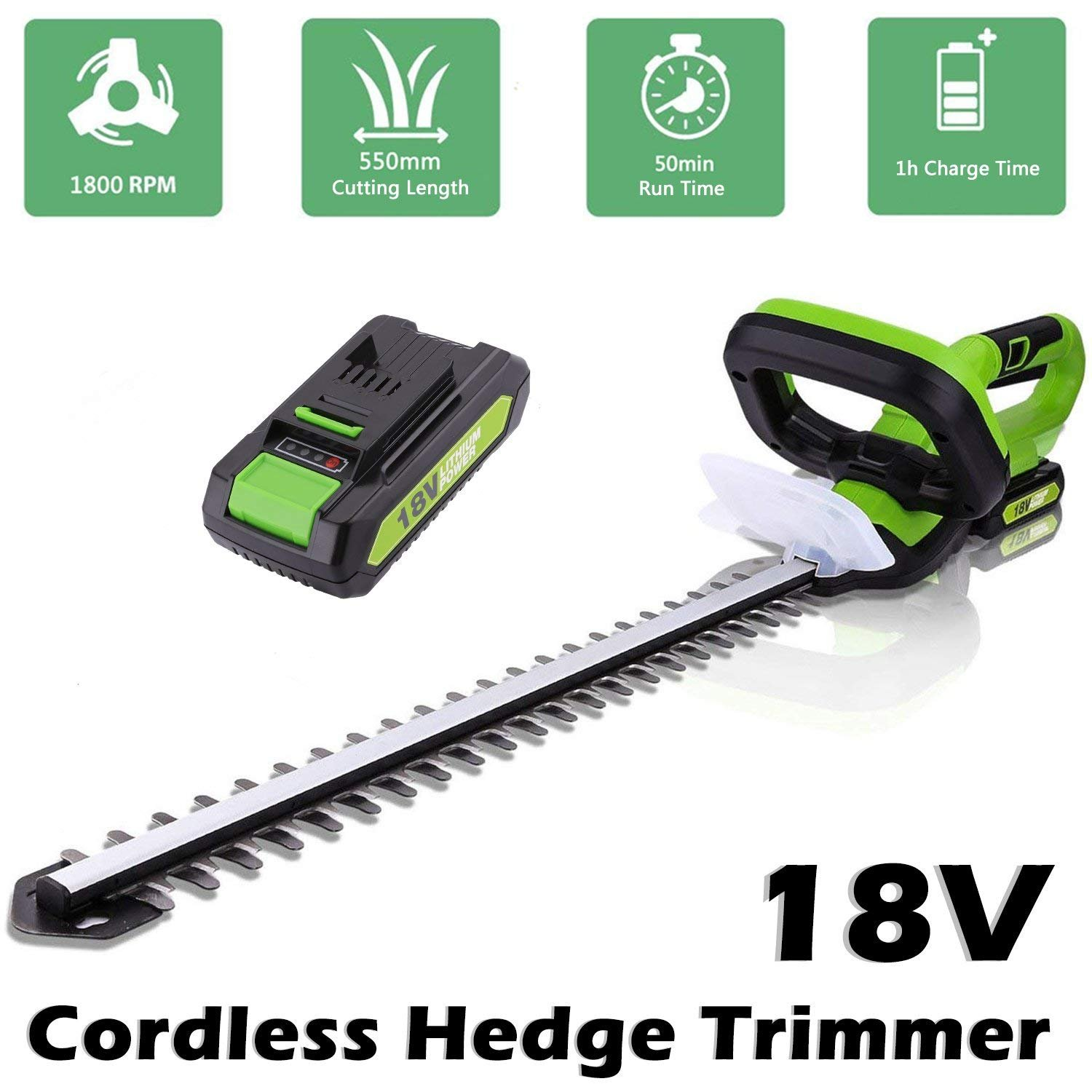 Ceanfly 18V Cordless Hedge Trimmer Electric Hedge Cutter With 15mm Tooth Spacing, 24.4 Inch Cutter Rail Length, Lithium-Ion Battery Charger For Garden Hedge Cutting