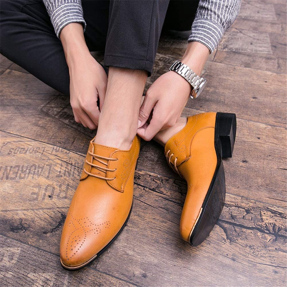 MUMUWU Mens Business Oxford Classic Brogue Lace Up Low Top Flat Heel Solid Color Leisure Shoes Semi Formal