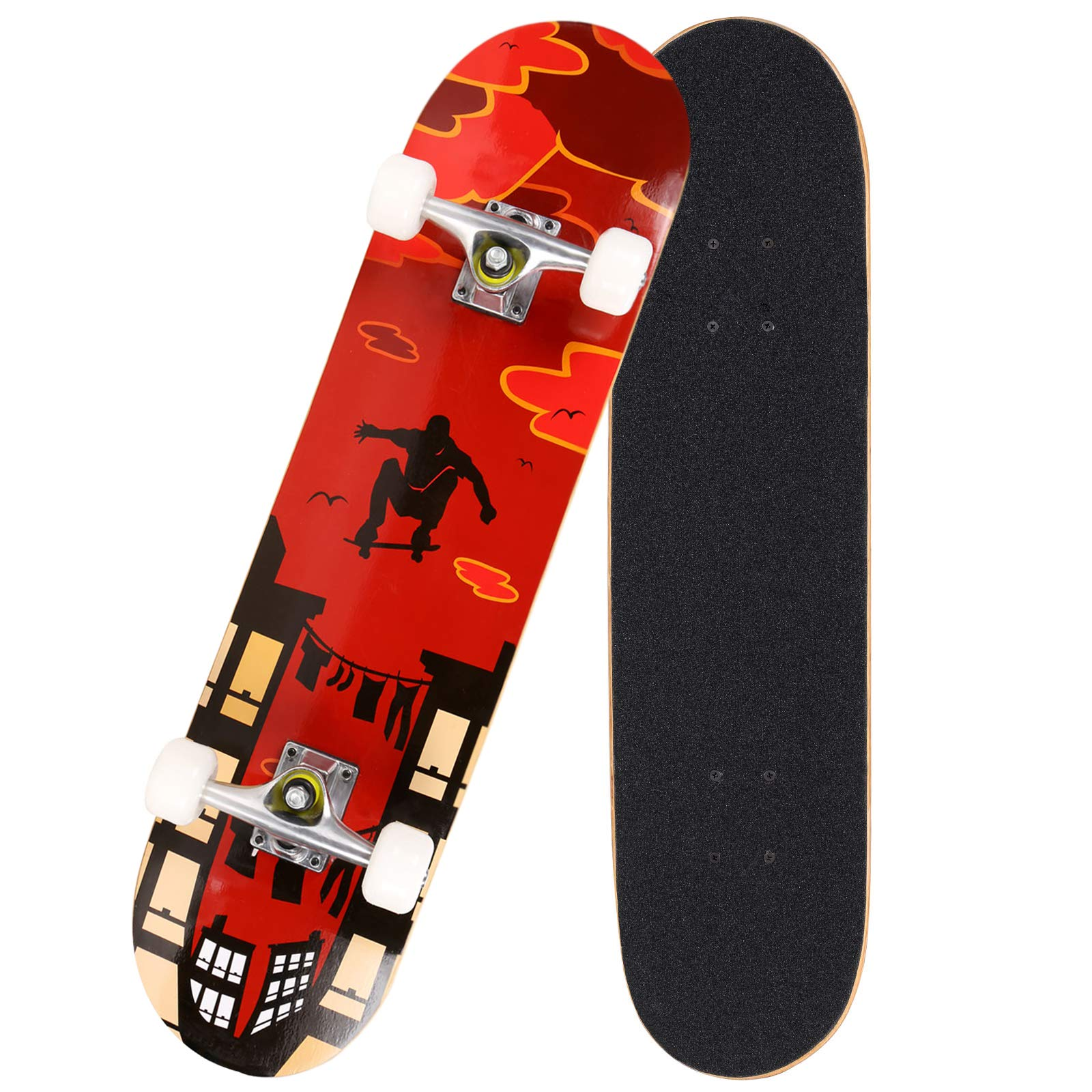 Hosmat 31'' Complete Pro Skateboard 7 Layer Canadian Maple Wood Skateboard Deck with Double Kick Concave Design for Kids & Adults Beginner - Age 5 Up (Type2-Red)