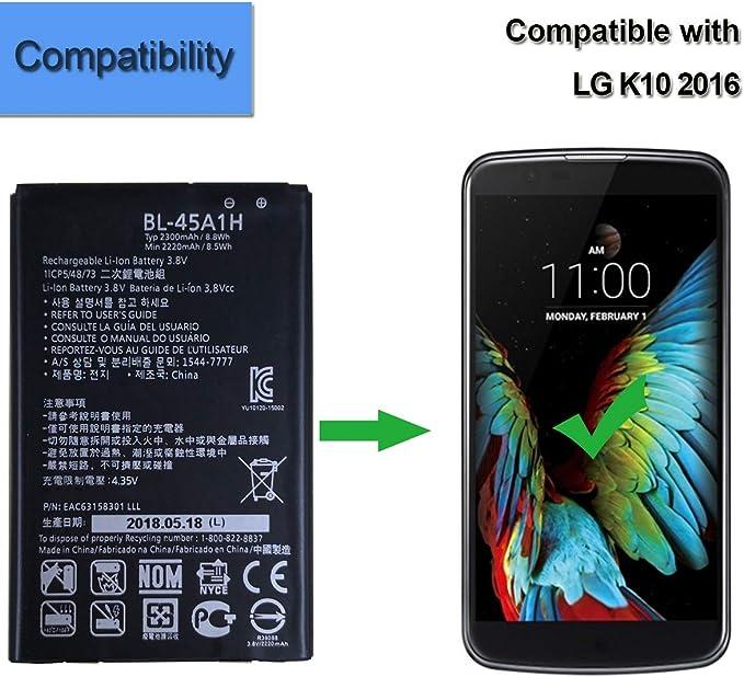 Batería de repuesto BL-45A1H, compatible con LG K10, F670K, K410 ...