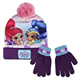Shimmer and Shine 2200-2561 Childrens Winter Set, Beanie Hat With Pompon & Gloves, Acrylic, One Size, Multicolored