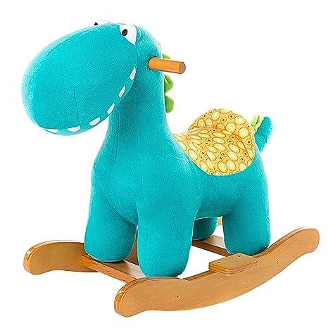 Cavallo Dondolo Bambini.Labebe Cavallo Dondolo Legno Peluche Dondolo Bambini Di Dinosauro Blu Per 6 36 Mesi Cavalluccio Dondolo Dinosauro Giochi Cavalcabili Bambini