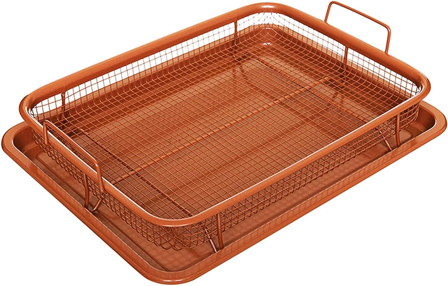 Non-Stick Baking Tray with Grill Crispy Basket Copper Crisper Air Fryer Pan Set of 2