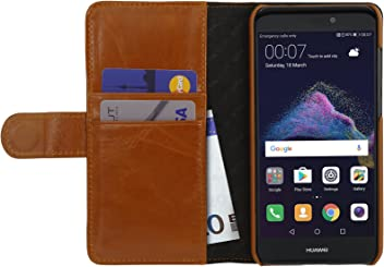 StilGut Talis Case con tasca per carte , custodia in pelle cover per Huawei P8 lite (2017). Chiusura a libro Flip-Case in vera pelle fatta a mano, Cognac