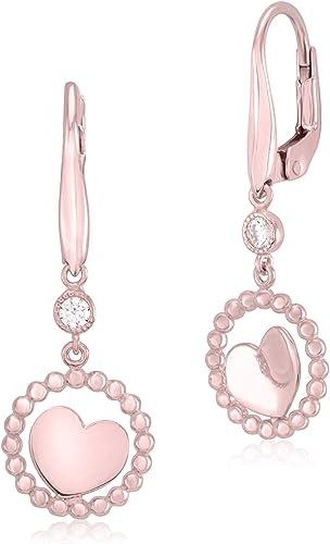 Sterling Silver High Polished Open Rose Dangle Leverback Earrings
