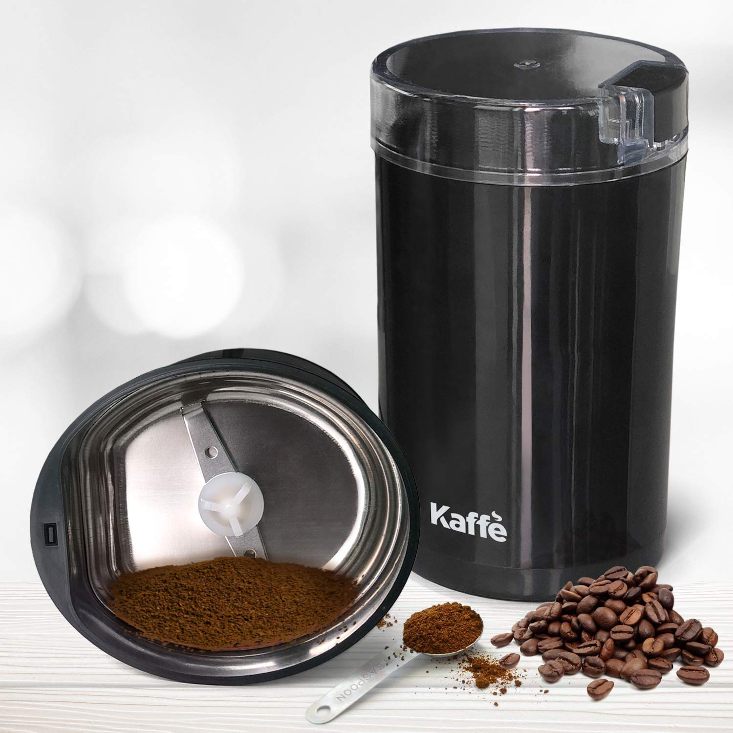 Stainless Steel 2.5oz Capacity with Easy On//Off Button KF2020 Electric Coffee Grinder by Kaffe Cleaning Brush Included! Black