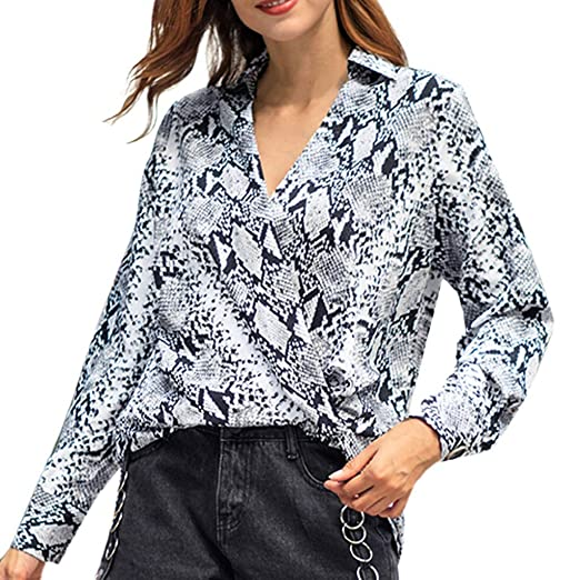41309479f64 Amazon.com  FEDULK Trendy Blouse for Women Long Sleeve V Neck Snake Print T- Shirt Casual Tops Tunic  Clothing