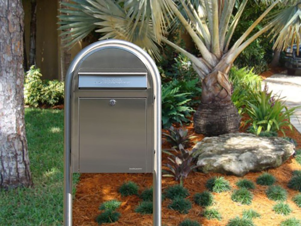 Bobi USPS Wall Mount Mailbox, European Outdoor Curbside Modern Mailbox with Lock and Key   Heavy Duty Stainless Steel Letter Drop Box (Stainless Steel)