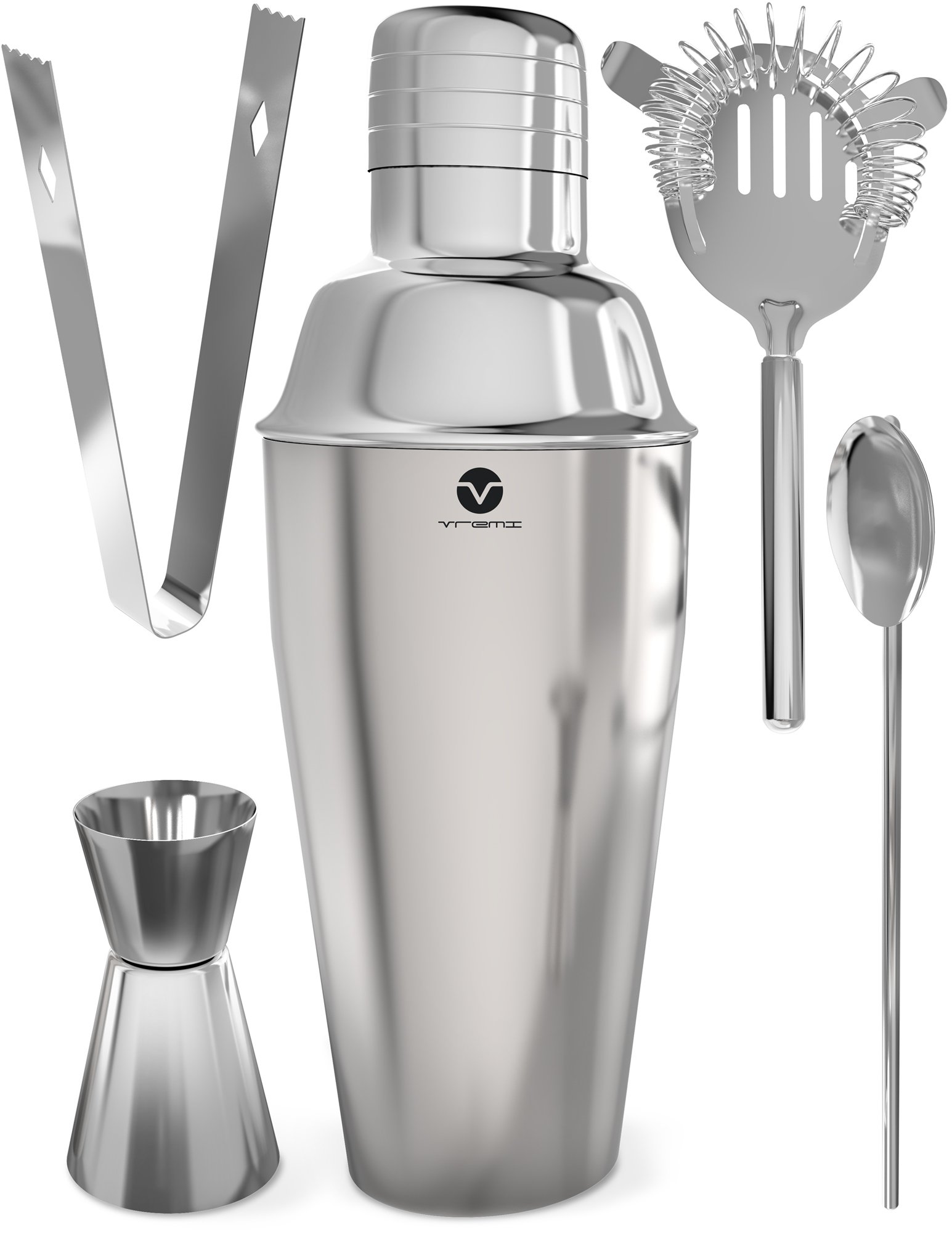 daac44cd523cf Details about Vremi Stainless Steel Cocktail Shaker Set - 5 Piece Bartender  Kit with Martini