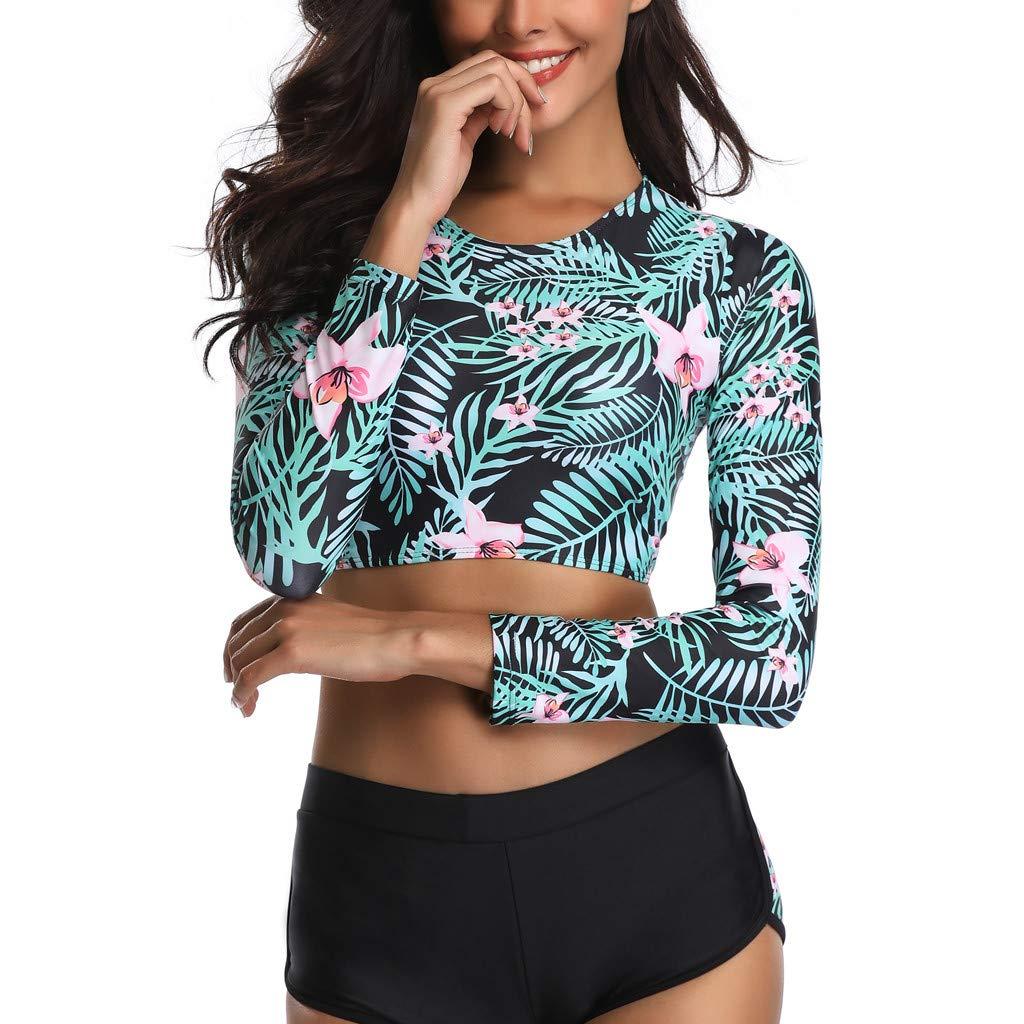 POTO Ladies Girls Sunscreen Surfing Suit Push-Up Padded Waterproof Print Bra Swimsuit Swimwear Women Swimsuits