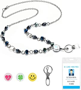LUXIANDA Beads Lanyard Necklace, Simple ID Badge and Key Holder for Women, Office Lanyard Necklace Key Lanyard Badge ID Holder for Working Women