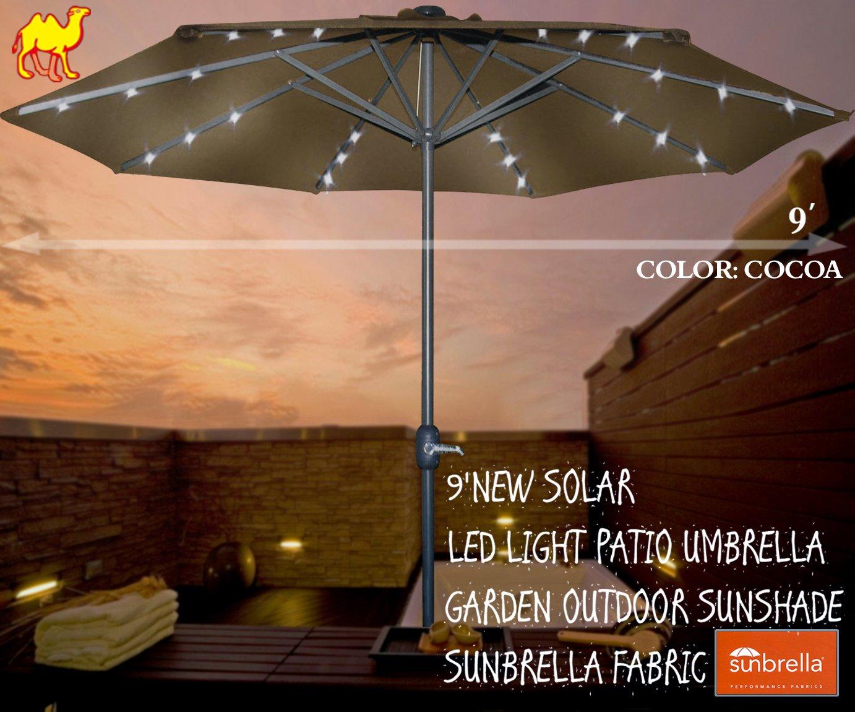 Amazon.com : STRONG CAMEL 9u0027NEW SOLAR LED LIGHT PATIO UMBRELLA GARDEN  OUTDOOR SUNSHADE SUNBRELLA FABRIC COCOA : Garden U0026 Outdoor
