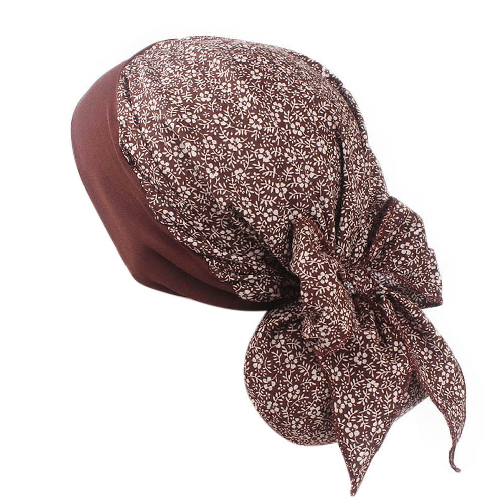 Women Print Muslim Hat Stretch Retro Turban Hat Head Wrap Cap