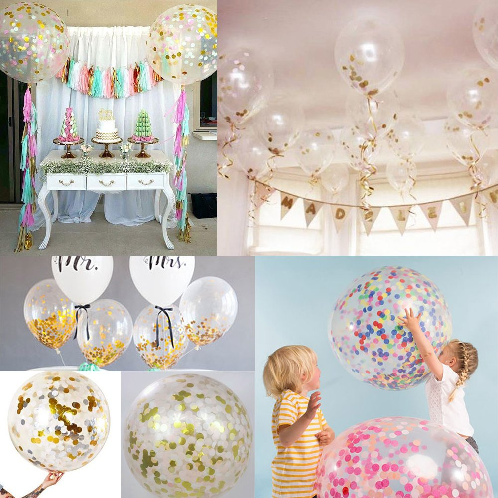 sotogo 15 pieces confetti balloons with golden paper confetti dots