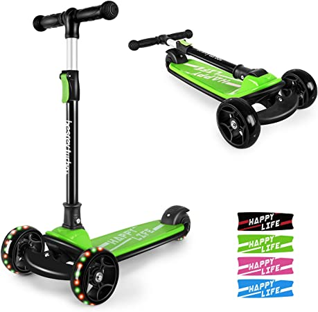 besrey Kick Scooter for Kids Ages 6-12, 3 Wheel Scooter for Kids with Adjustable Height, Folding Kids Scooter with LED Light Wheels Rear Brak Extra Wide Deck Outdoor Activities for Boys Girls