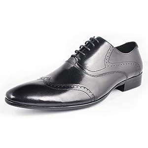 Fulinken Men Genuine Leather Oxford Shoes Lace up Slip on Boots Brogue Shoes Formal Dress Shoes (10.5 D(M) US, black)