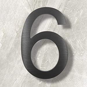 10 Inch House Numbers- Modern Floating Street Home Address Number-Large Contemporary Aluminum Brushed Finish Number, Black (Number 6)