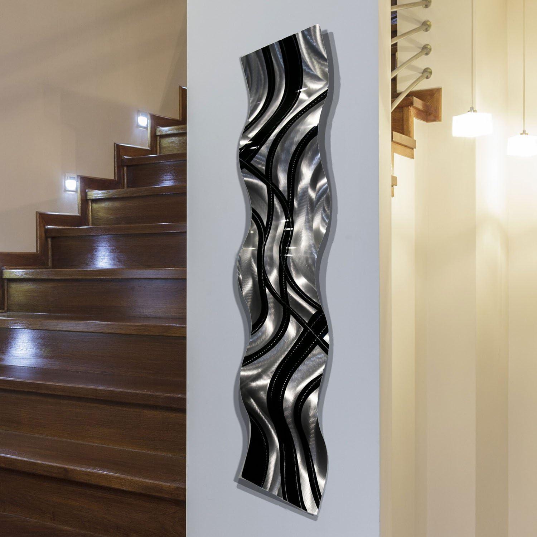 "Statements2000 Silver/Black Metal Wall Art Wave, Modern Accent Décor by Jon Allen Metal Art, Crossroads Wave, 46"" x 10"""