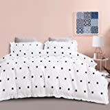 HYPREST Duvet Cover Set Queen Size, Polka Dots Printed Bedding Duvet Covers, Farmhouse White and Black Comforter Cover with R