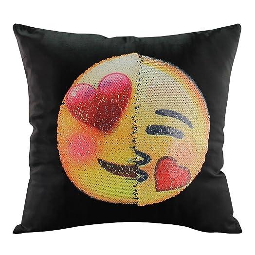 HENGSONG Emoji Pillow Cover Glitter Sequins Throw Pillow Case