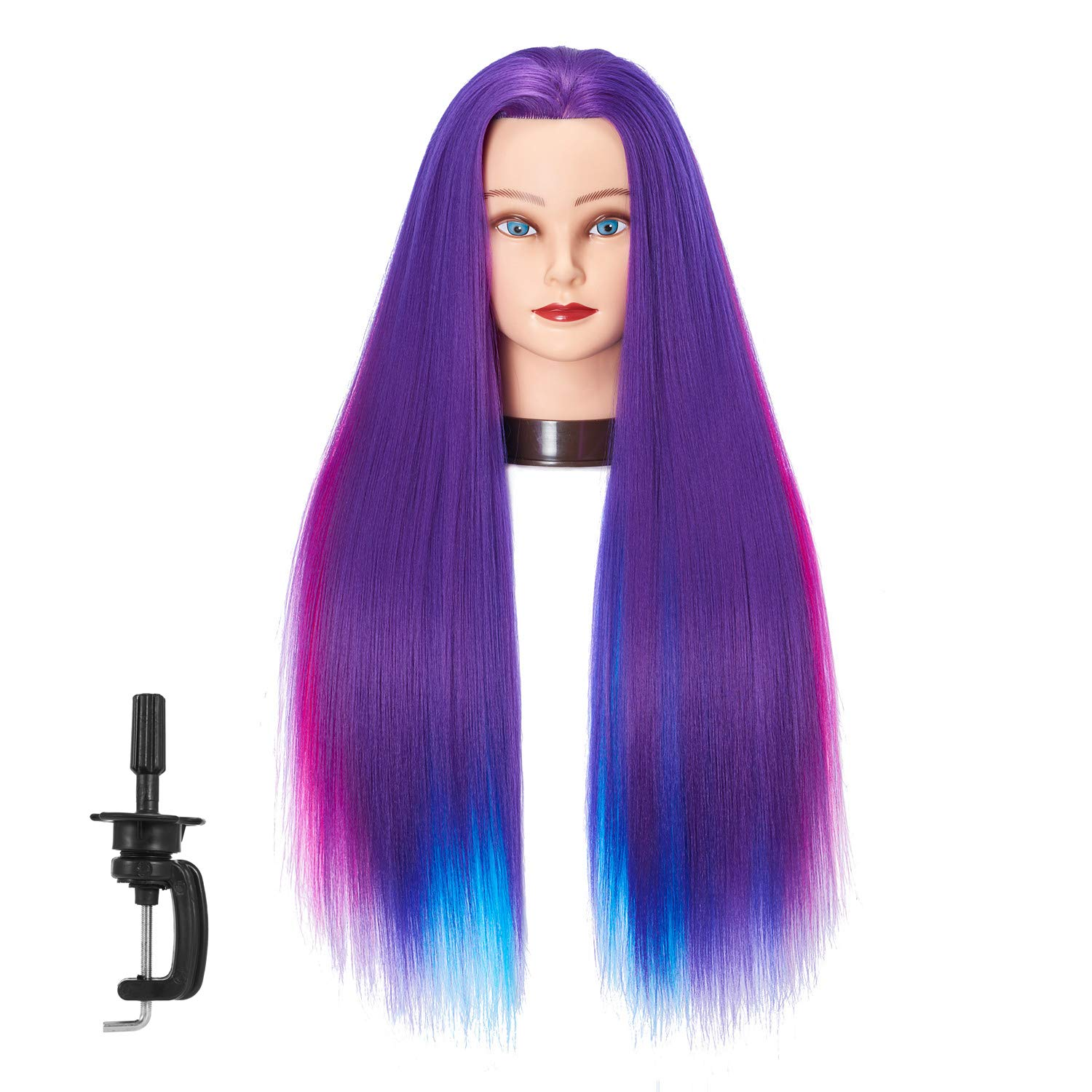 """26""""-28"""" Mannequin Head Hair Styling Training Head Manikin Cosmetology Doll Head Synthetic Fiber Hair Hairdressing Training Model With Free Clamp (Colorful Hair)"""