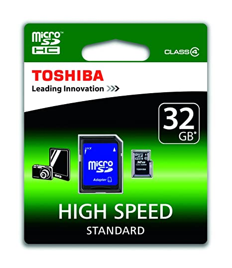 Toshiba SD-C32GJ(6A - Tarjeta Micro SDHC de 32 GB, Clase 4, con adaptador