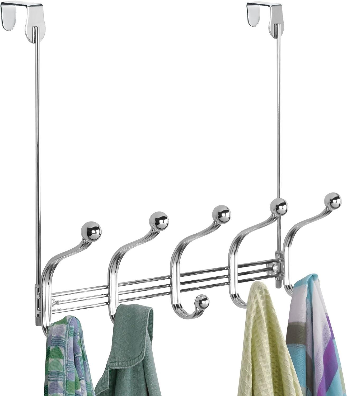 bufandas y toallas chaquetas blanco Perchero con ganchos para colgar abrigos Perchero de pared con 10 ganchos para la cocina el pasillo o el ba/ño mDesign Pr/áctico perchero met/álico