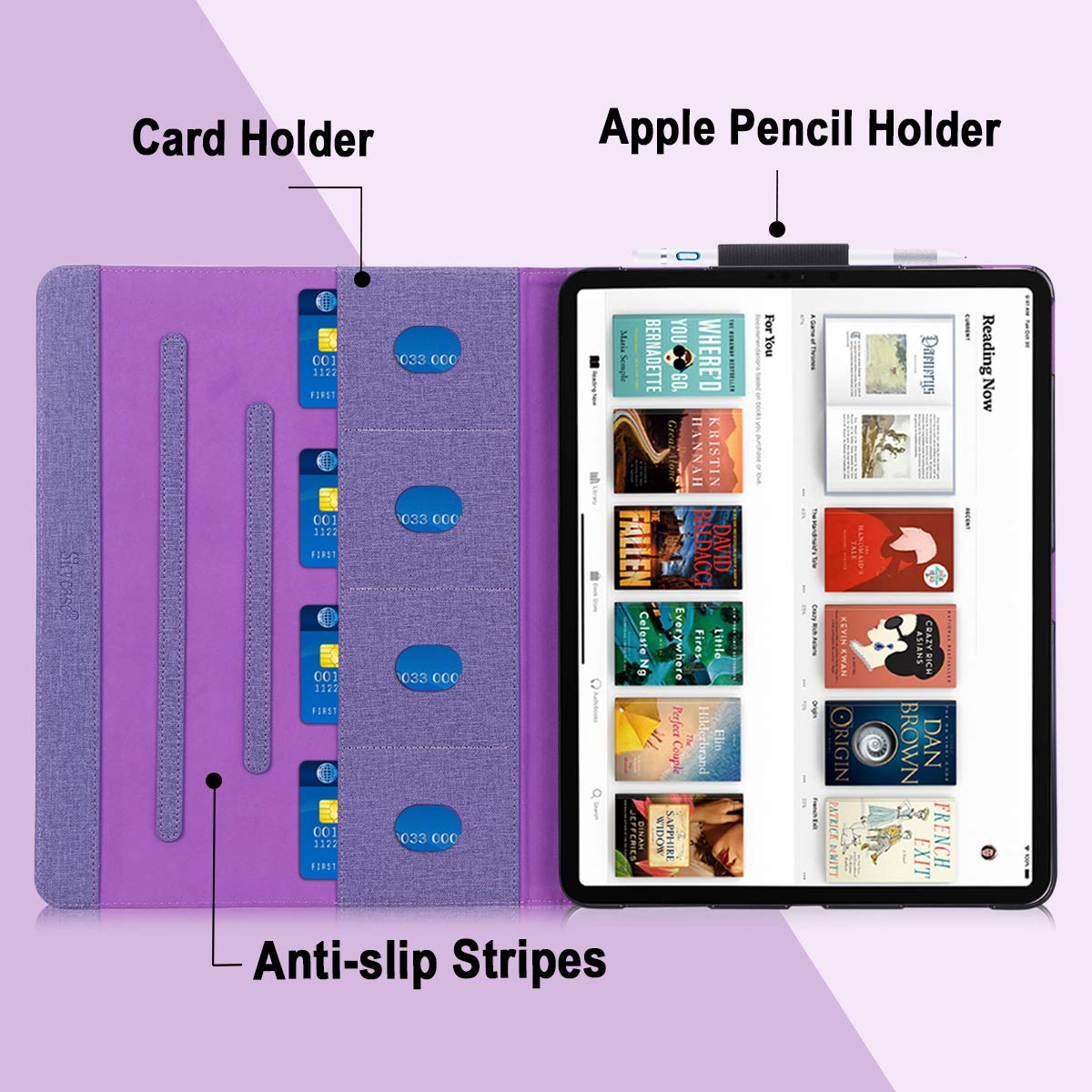 Support Apple Pencile Charging Canvas Multi-Angle Viewing Stand Folio Case for Apple iPad Pro 12.9 inch 2018 Skycase iPad Pro 12.9 Case Purple 2018 with Card Holders ,
