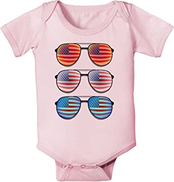 Red American Flag Aviator Sunglasses Infant T-Shirt