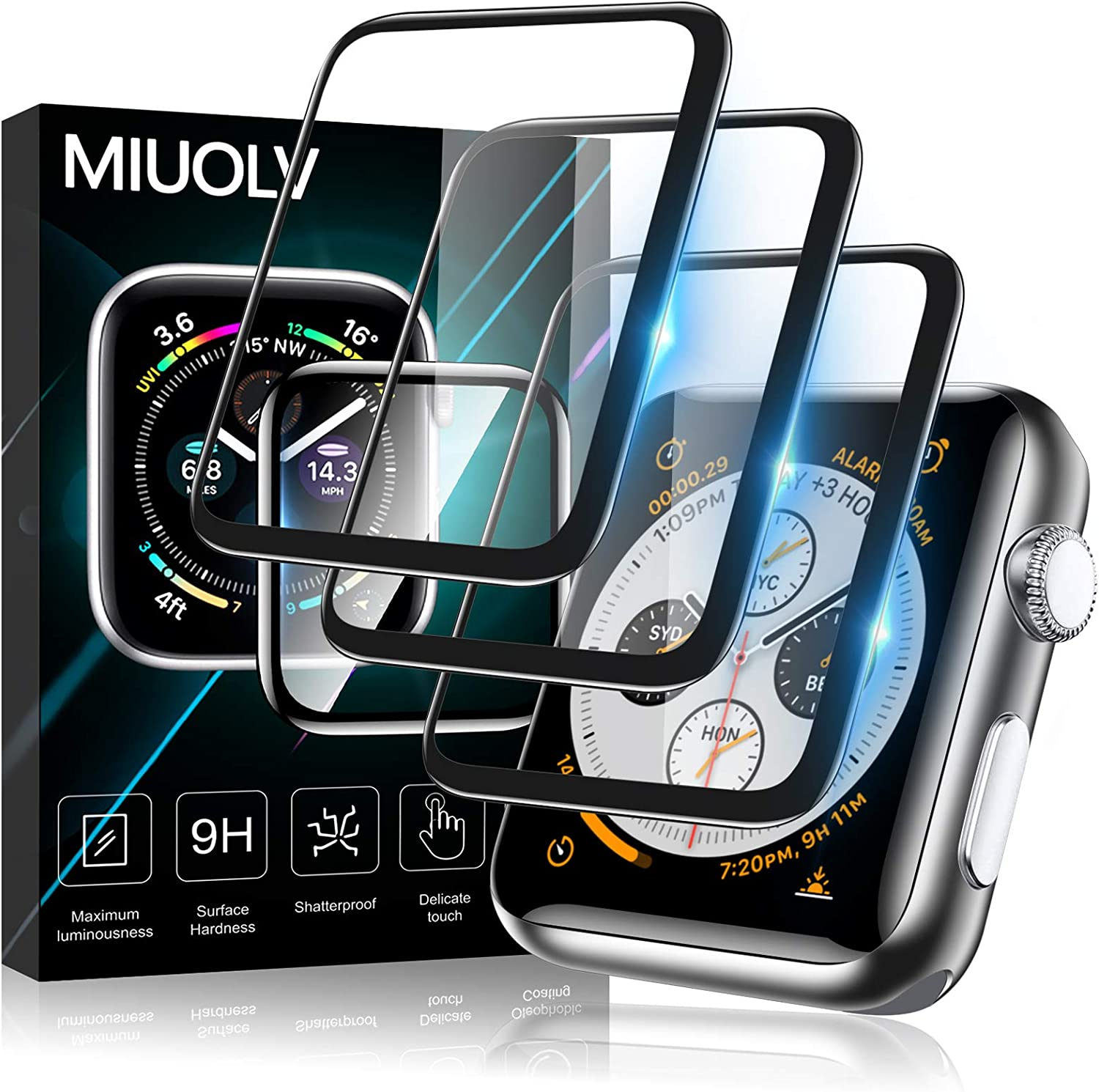 [3 Pack] MIUOLV Screen Protector for Apple Watch 44mm Series 4/5/6/SE Full Coverage Bubble-Free Scratch-resistant Anti-Fingerprint HD Screen Transparent Protector-Black for Apple Watch 44mm (44mm)