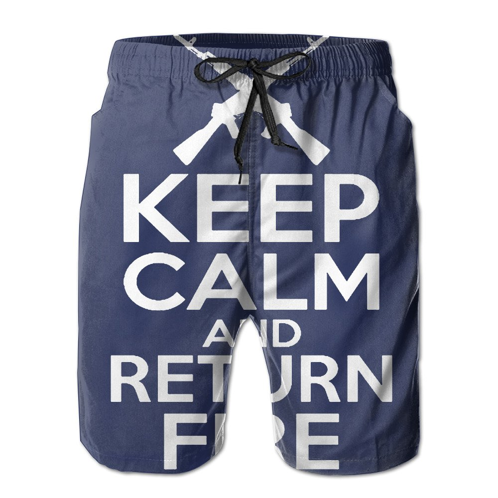 Keep Calm And Return Fire Men's Quick Dry Swim Trunks Boardshort