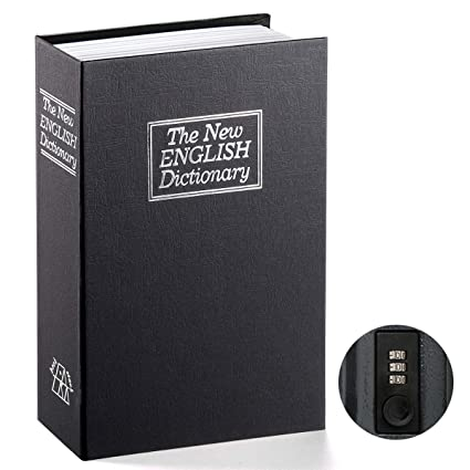 Book Safe with Combination Lock - Parrency Home Dictionary Diversion Metal  Safe Lock Box, 9 1/2
