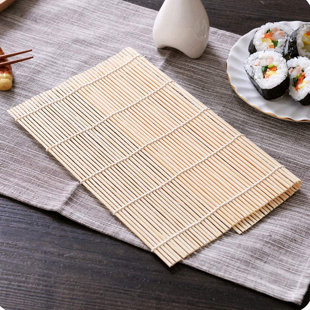 4Pcs 9.4 x 9.5 Inch Sushi Rolling Mat Bamboo Curtain Sushi Making Natural Rolling Mats, Bamboo Mats Homemade Sushi Gadget For Food Lovers (bamboo)