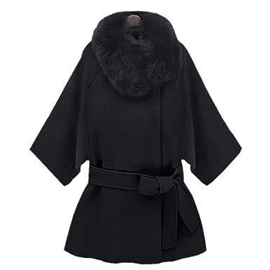 2af45ed02f793 Zeagoo Chaud col en fourrure Épaissir Manteau revers Zipper Jacket Noir