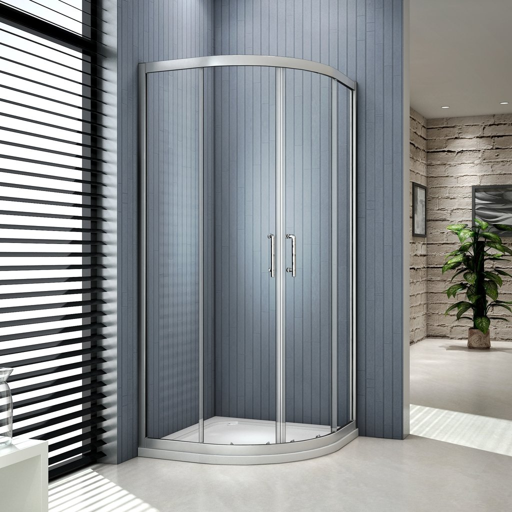 Perfect 800x800mm Quadrant Shower Enclosure Double Sliding Door 6mm Glass Walk in Cubicle Door
