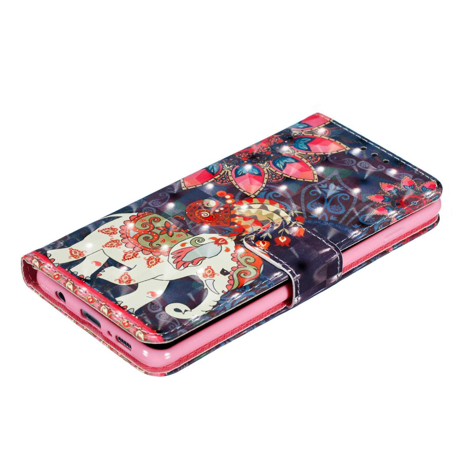 UNEXTATI Fashion Print Pattern PU Leather Flip Cover Wallet Phone Case with Magnetic Closure and Card Slot for Samsung Galaxy S10 Plus Galaxy S10 Plus Case Elephant