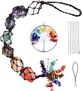 7 Chakras Stones Crystal Car Hanging Ornament, Handmade Gemstone Decor Car Wall Luck, with Tree of Life Decoration Key Chain