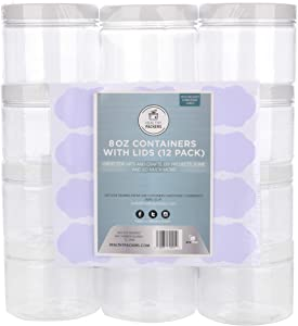 Slime Containers with Water-tight Lids (8 oz, 12 Pack) - Clear Plastic Food Storage Jars with Individual Labels- Great for your slime kit - BPA Free