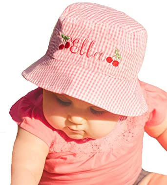 b8c9290ffdc8a Melondipity Baby Hats Pink and White Gingham Personalized Cherry Sun Hat  (2-4 Years