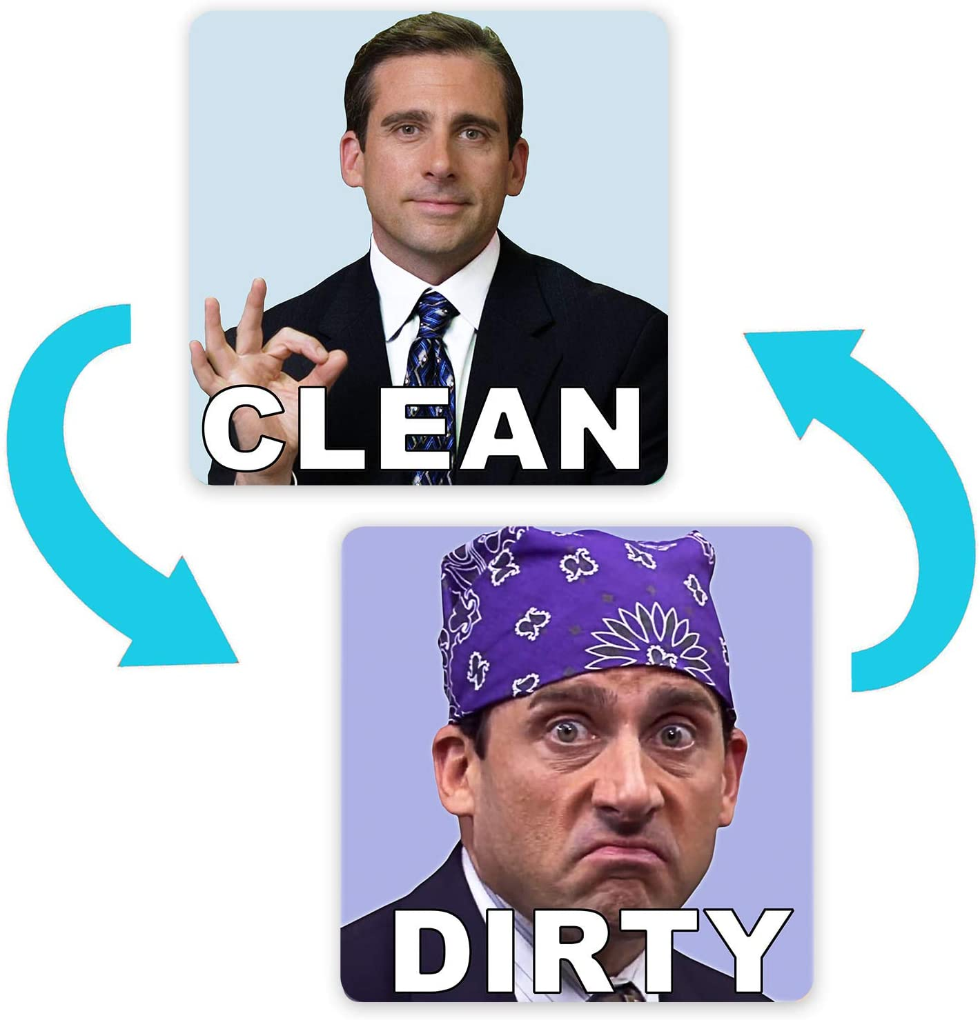 Michael Scott Prison Mike Dishwasher Magnet Clean Dirty Sign Sticker Strongest Magnet Double Sided Flip with Bonus Metal Magnetic Plate Universal Kitchen Dish Washer Reversible Indicator