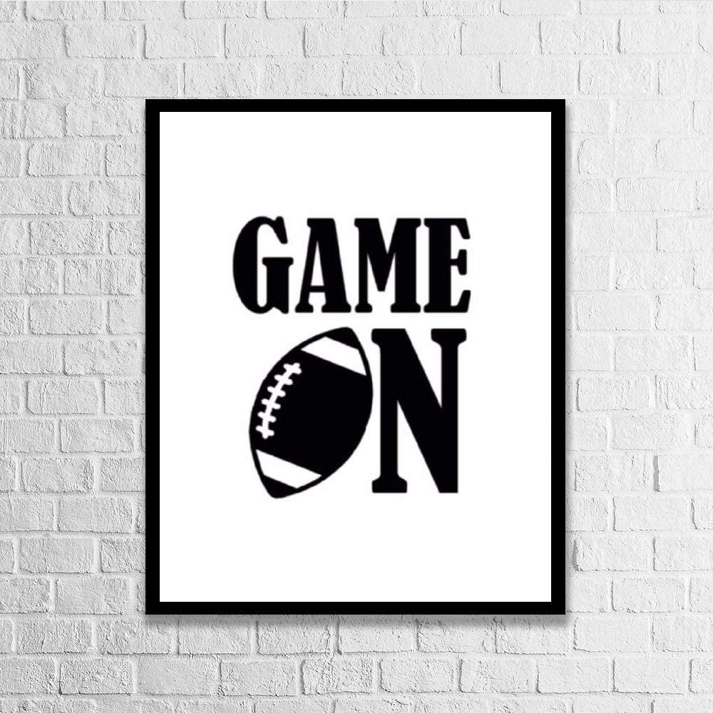DKISEE Wall Art Game On Football Wood Framed Sign Home Decor Wood Sign Wall Decor Poster Print