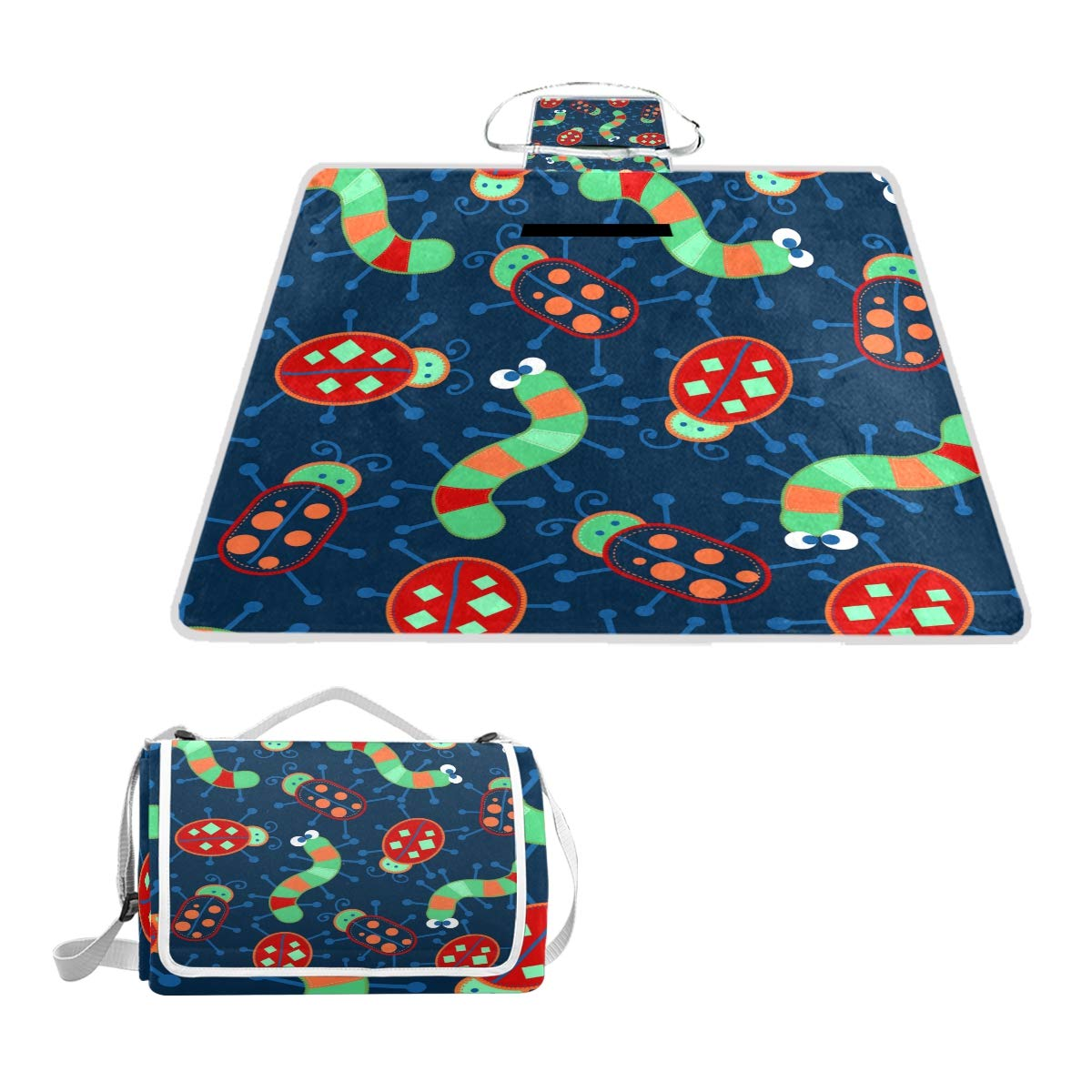 SINOVAL 3 Cute Bugs Large Picnic mat Outdoor Rug Waterproof Camping Blanket Beach mat 57X59 inches