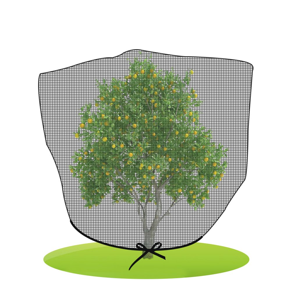 Agfabric Black Bird Netting Insect Barrier Garden Plant Cover, In-shape Bag with Rope