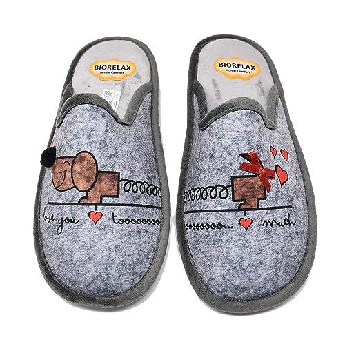 Zapatillas de casa para Mujer - Gris Love - Biorelax 4513: Amazon.es: Zapatos y complementos