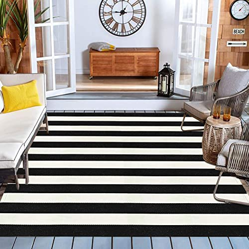 Black and White Striped Outdoor Indoor Rug 47 x 71
