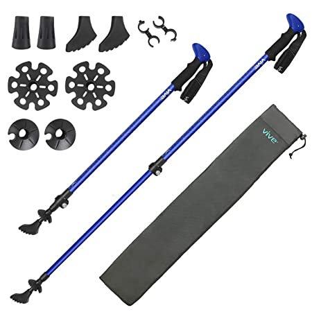Vive Anti Shock Trekking Poles Pair – Collapsible Hiking Sticks – Ultralight Antishock Trek Walking Staff – Rubber Ice Snow Tip – Running, Walking Cane for Men, Women – Backpack and Camping Gear