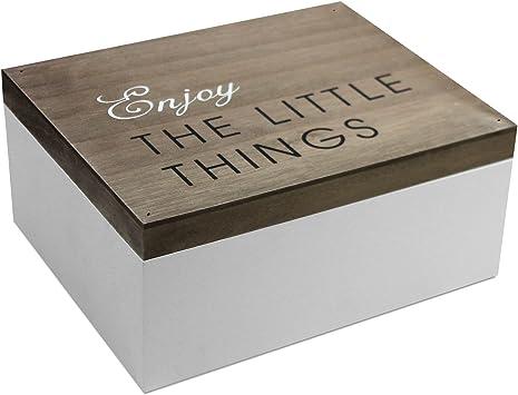 Caja de madera con tapa, 22 x 18 x 10 cm, marrón/blanca: Amazon.es ...