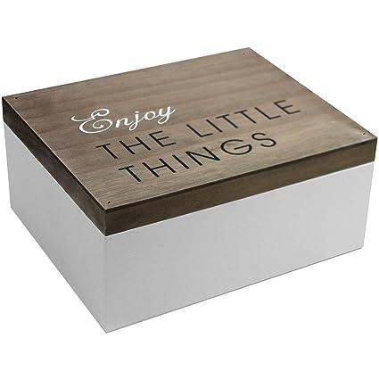 Caja de madera con tapa, 22 x 18 x 10 cm, marrón/blanca