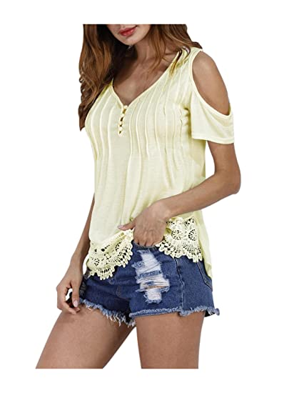 1ad74d4738ce47 Women Summer Blouses and Tops Dew Shoulder Lace Stitching Tee Shirts Beige S