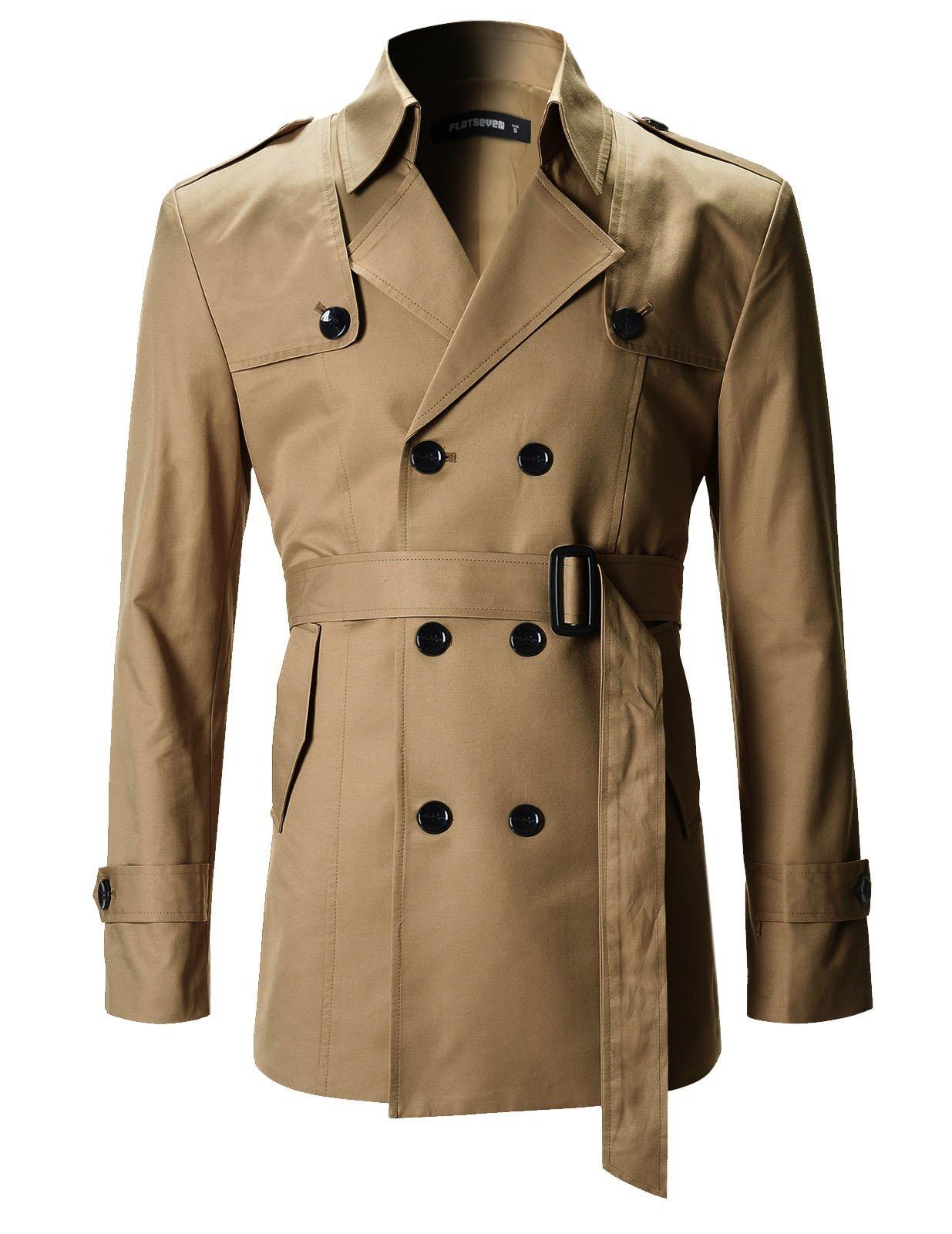 FLATSEVEN Mens Slim Fit Designer Casual Trench Coat (FCT201) Dark Beige, Size XL